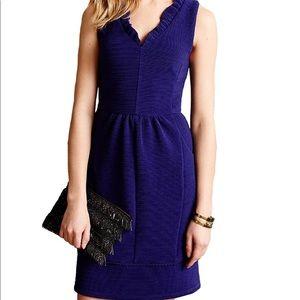 Anthro- MAEVE Ottoman Blue Ruffle Dress - Med